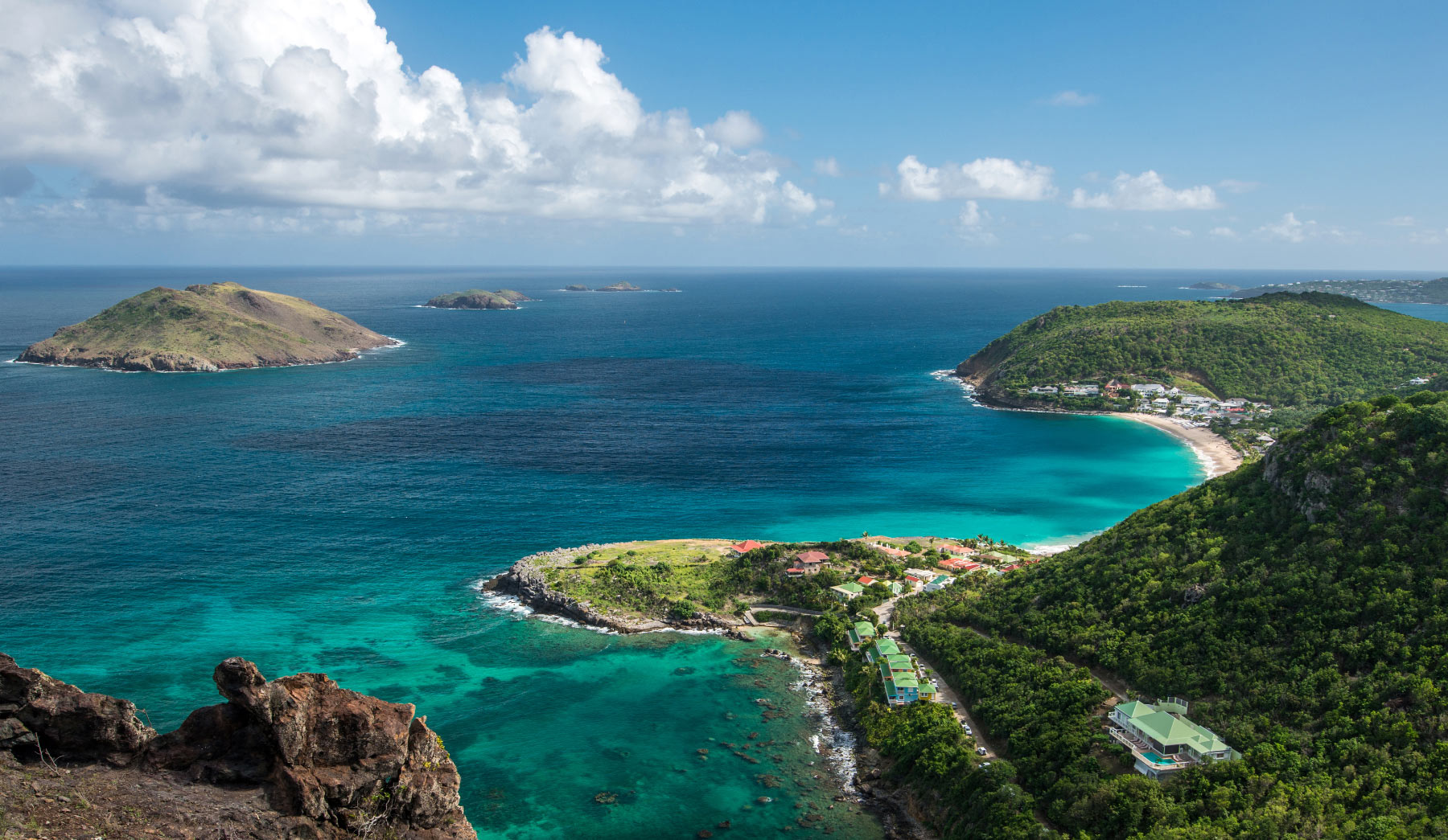 Hilltop View Of Villas, Ocean, and Islands In St Barts