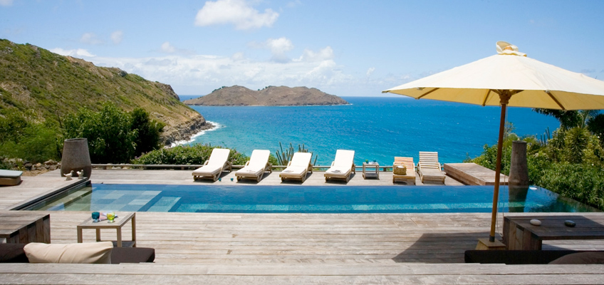 Poolside At St Barts Villa With Island Bay Overlook